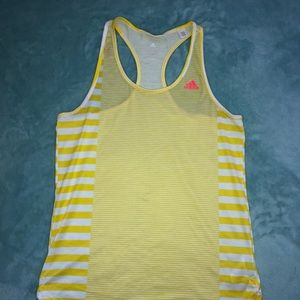 Yellow stripped Adidas workout tank!!